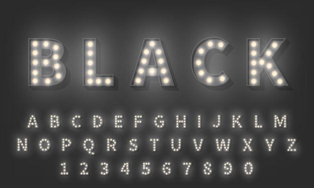 3d gloeilamp alfabet. donkere stijl 3d retro typografie lettertype
