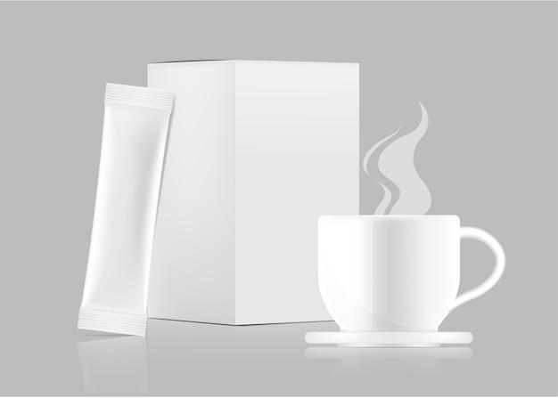 3d glossy stick-sachetmodel en beker met papieren doos geïsoleerd.