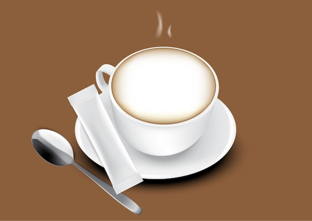 3d glossy stick-zakje en kopje koffie illustratie.