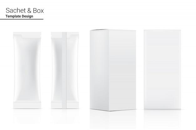 3d glossy stick-zakje voor- en achterkant met papieren doosmodel geïsoleerd. illustratie. eten en drinken conceptontwerp van de verpakking.