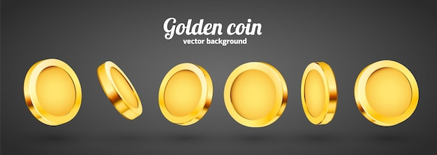 3d-goud geïsoleerde munten set. verschillende standpunten.
