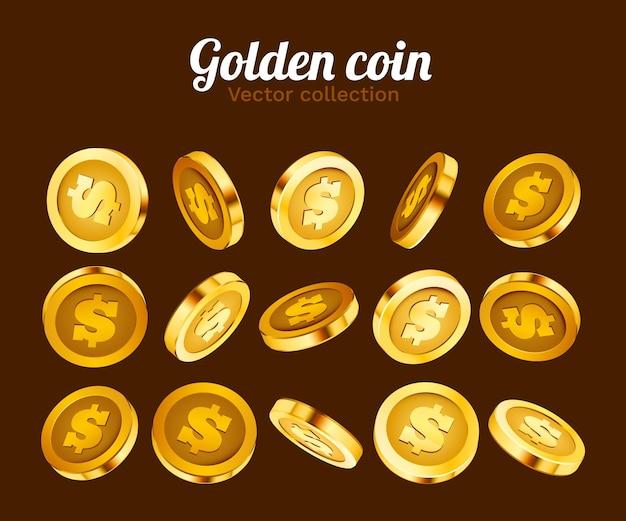 3d-goud geïsoleerde munten set.