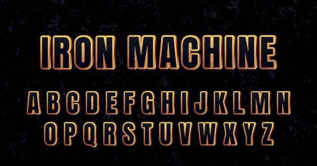 3d-goud roestig metalen sterk lettertype alfabet ingesteld