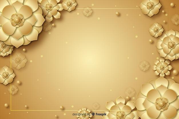 3d gouden bloemen decoratieve achtergrond