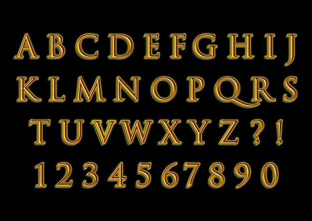 3d gouden klassieke alfabetten nummers set