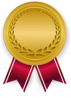 3d gouden lege medaille en rood lint.