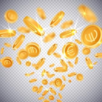 3d-gouden munten dollar en euro
