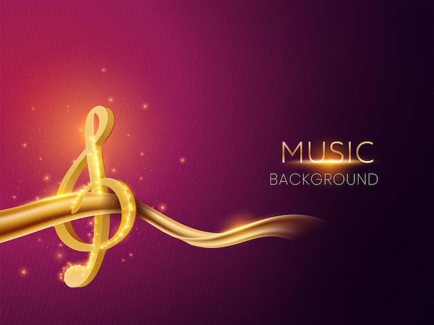 3d gouden muziek treble met abstracte golf op paarse lichteffect achtergrond.