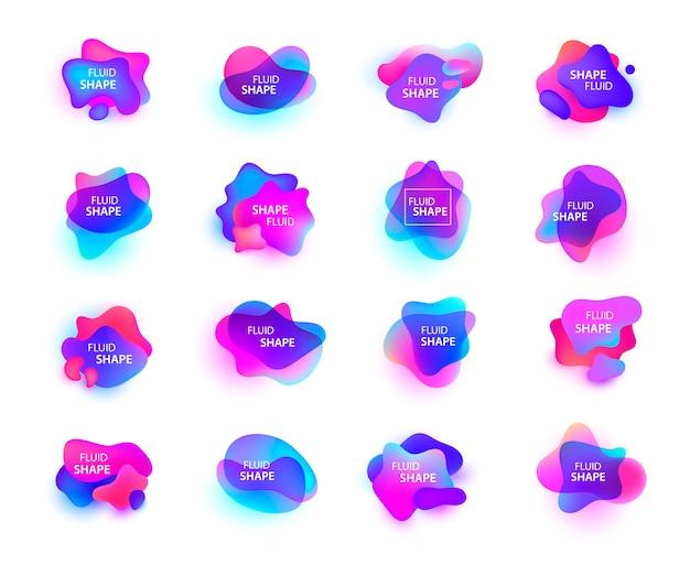 3d gradiëntvlekken geplaatst geïsoleerd. abstracte elementen voor trendy levendige kleurenontwerp.