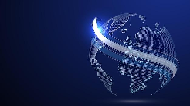 3d grafische aarde die de illustratie van de wereldhandel symboliseert.