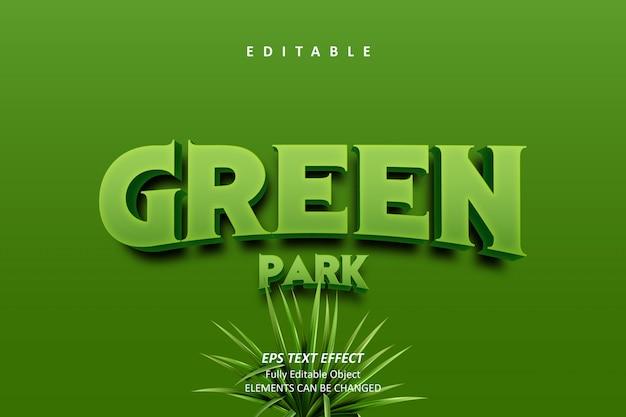 3d green park bewerkbaar teksteffect