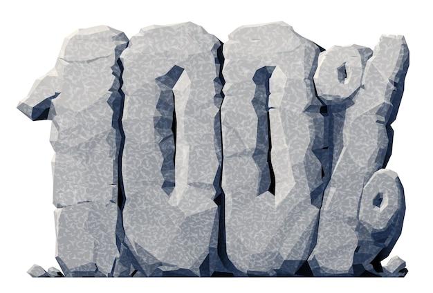 3d-grijze steen 100 procent