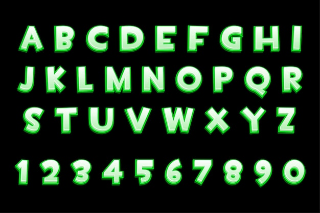 3d-groen neonalfabet en cijfers voor ui-spellen, tekst. vector illustratie collectie van letters en cijfers voor grafische interface.