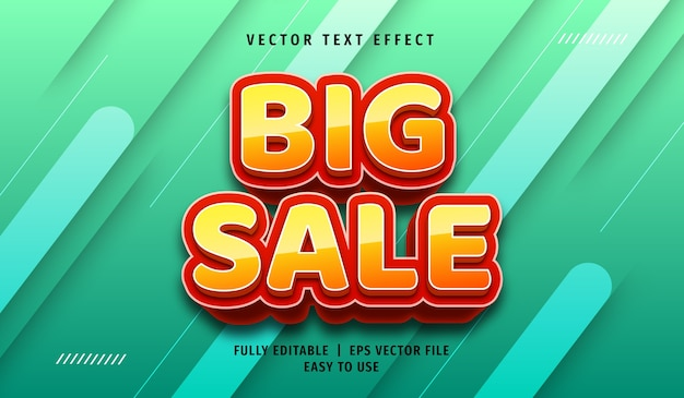 3d groot verkoop teksteffect, bewerkbare tekststijl