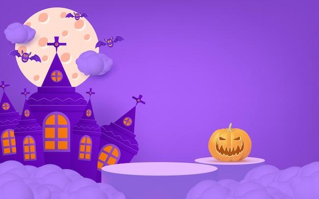 3d halloween-banner met podiumpompoenvleermuis