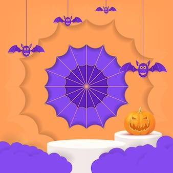 3d halloween-feestontwerp met pompoenwolkvleermuis