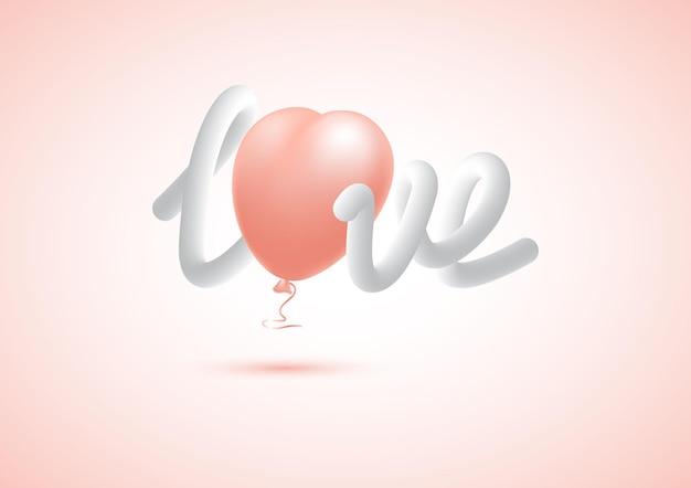3d handgeschreven woord liefde, vloeiend effect, vloeibare vorm met realistische hartballon.