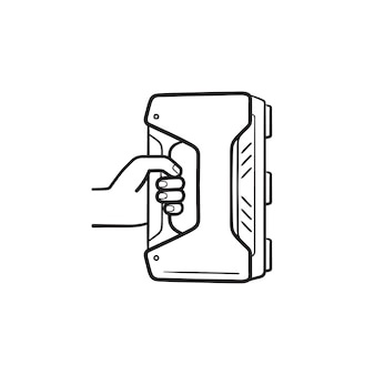 3d handheld scanner hand getrokken schets doodle pictogram. 3d-modellering, modern scannerapparaat, concept