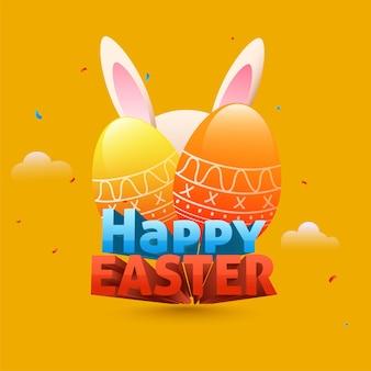 3d happy easter-tekst met glanzende eieren en konijnenoren