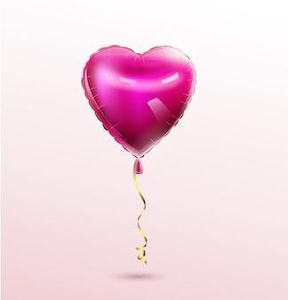 3d hart ballon geïsoleerd op een witte achtergrond vector feestelijke decoratie voor valentijnsdag