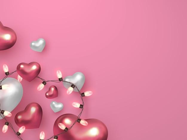 3d harten met slingerlichten op pastel roze achtergrond. liefde en valentijnsdag concept