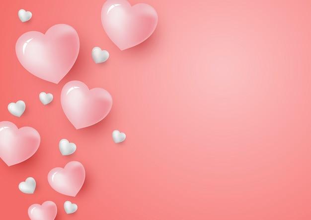 3d harten op koraal kleuren achtergrond voor valentijnsdag