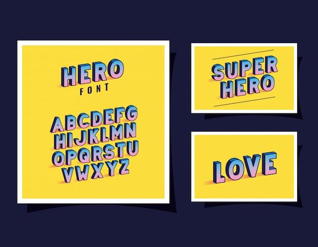 3d-held lettertype belettering en alfabet gele achtergronden