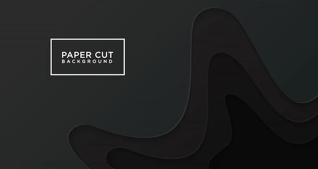 3d horizontale achtergrond van zwart papier knippen