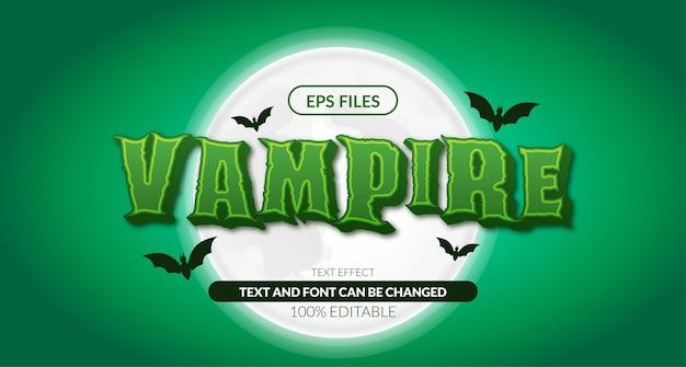 3d horror vampier halloween bewerkbaar teksteffect. eps-vectorbestand. horror mysterie nacht