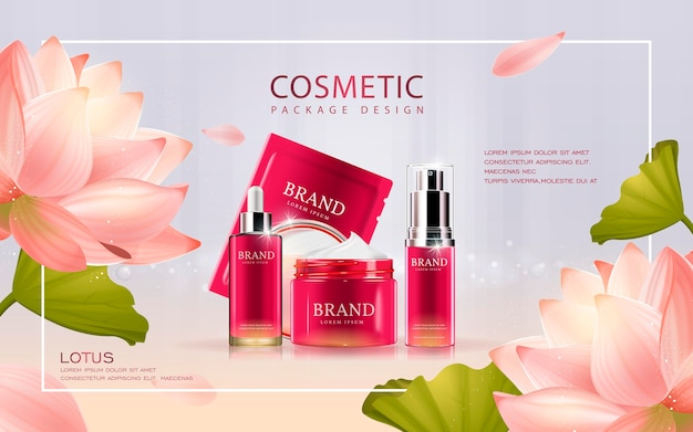 3d illustratie cosmetische mockup met lotus op de achtergrond