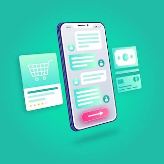 3d illustratie e-commerce online winkelen klantenservice ondersteuning mobiele applicatie