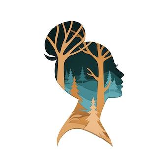 3d illustratie met het gezicht van de papercutvrouw en het concept van de vrouwendag