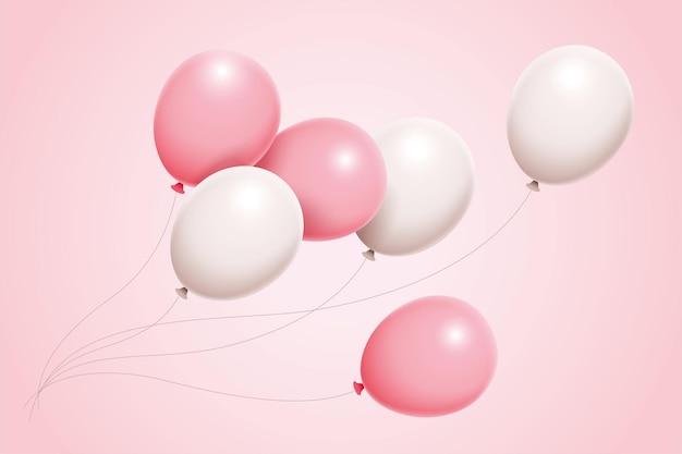 3d illustratie prachtige set roze en witte ballonnen zweven in de lucht voor verjaardagsverjaardag
