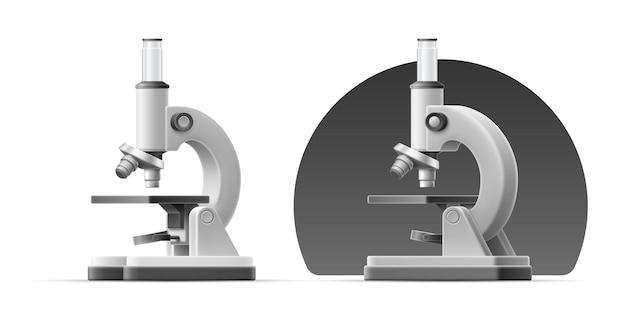 3d illustratie van verschillende kanten van grijze microscoop