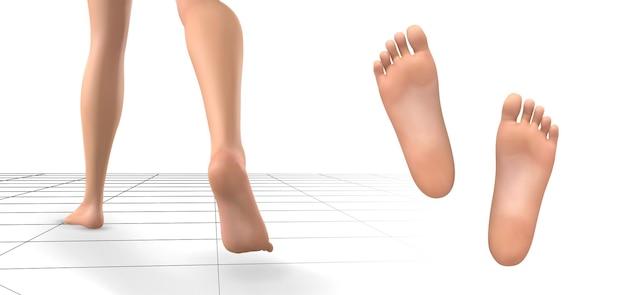 3d illustratie, vectorvoetvolume, gezondheid en schoenselectie