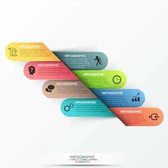 3d-infographic optie sjabloon met 8 papieren linten