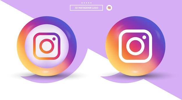 3d instagram-logo in moderne stijl voor social media iconen - gradiënt ellips