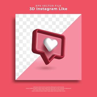 3d instagram zoals hart meldingspictogram