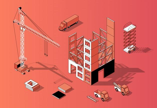 3d isometrisch bouwconcept, de bouwbuitenkant