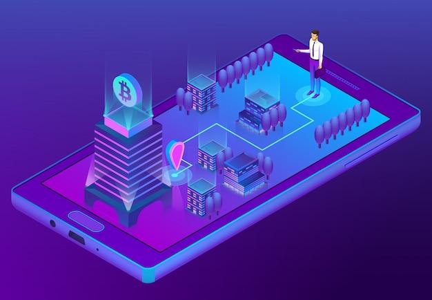 3d isometrisch concept met bitcoin mijnbouw