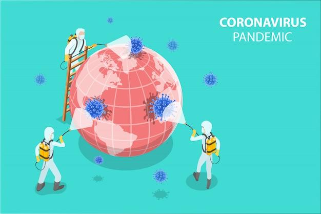 3d isometrisch concept van wetenschappers desinfecteren coronaviruscellen.