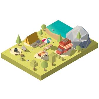 3d isometrisch grondgebied voor kamperen, recreatie