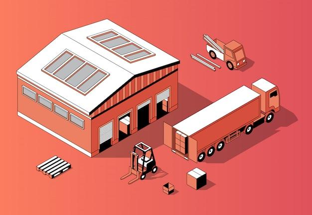 3d isometrisch pakhuis met vrachtwagen, vorkheftruck
