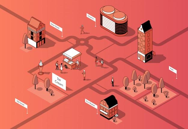 3d isometrisch stadscentrum. stedelijke kaart
