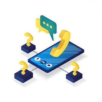3d isometrisch van online klantenondersteuning