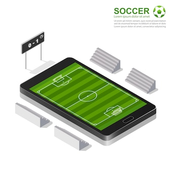 3d isometrisch voetbalgebied op smartphone