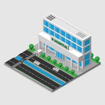 3d isometrisch ziekenhuis en ambulance