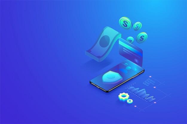 3d isometrische beveiligde online betaling door smartphone concept