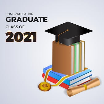 3d isometrische boekliteratuur en hoed afstuderen cap voor gefeliciteerd afgestudeerde klasse van 2021