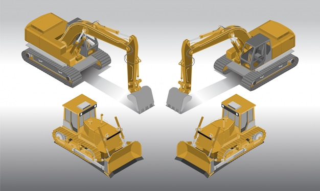 3d isometrische bouwmachines, bulldozer en graafmachine